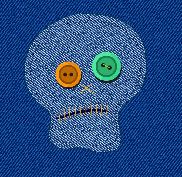 jean textile background skull decoration