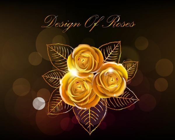 jewelry background golden rose ornament dark backdrop