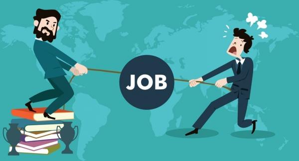 job searching concept competitive male design vignette map