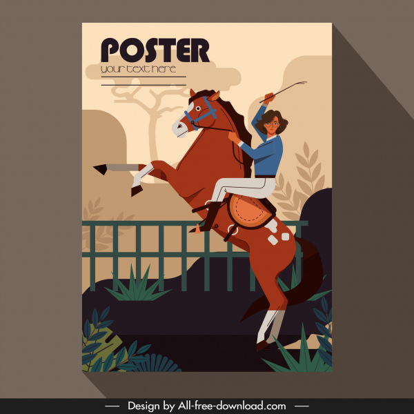 jockey poster woman sketch colorful classic decor