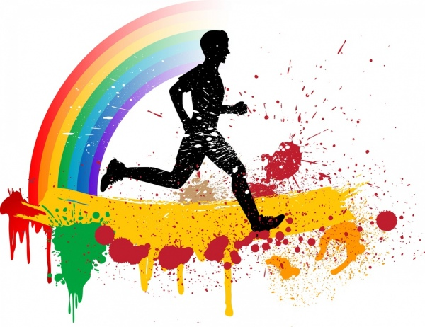 jogging hobby background silhouette colorful grunge decoration