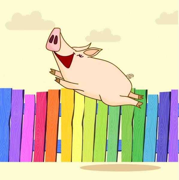 joyful pig painting colorful cartoon designhttpeditorabsfreepiccom
