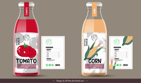 juice label templates tomato corn sketch flat decor