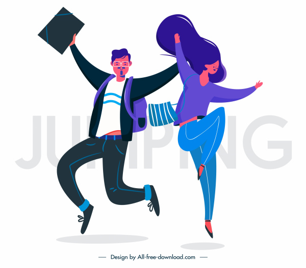 jumping people icons colored cartoon sketch