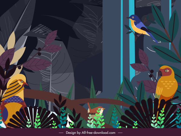 jungle painting colorful dark birds trees decor