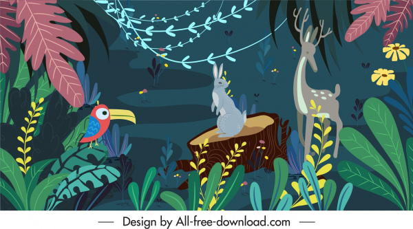 jungle painting colorful plants animals sketch classic design