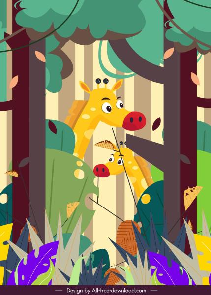 jungle painting giraffes trees sketch cartoon design