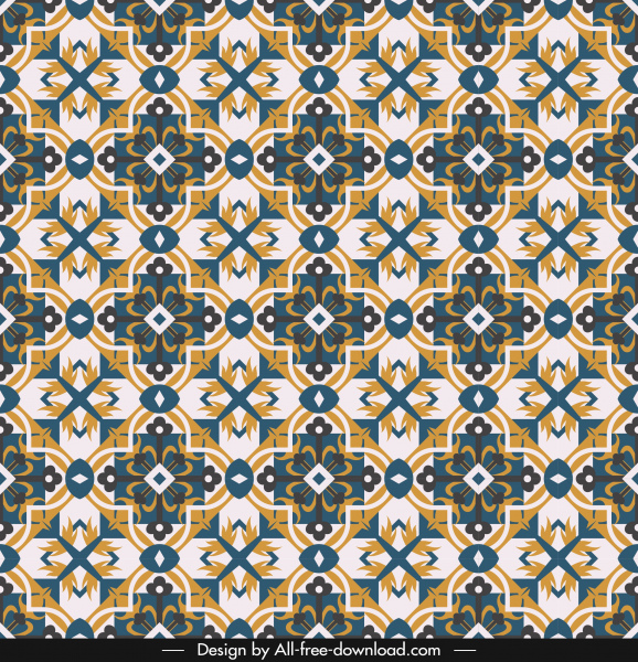 kaleidoscope pattern template retro symmetric repeating shapes
