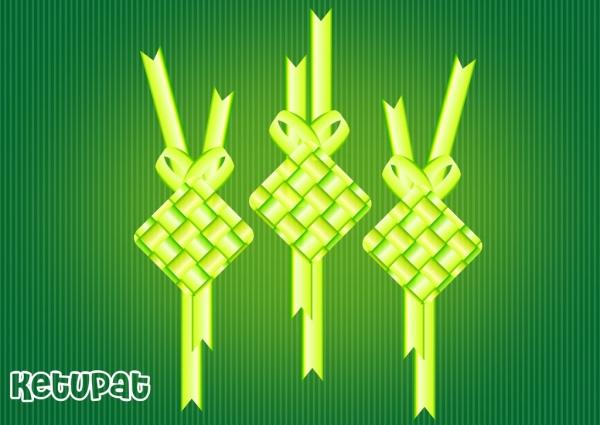 ketupat decorative vector