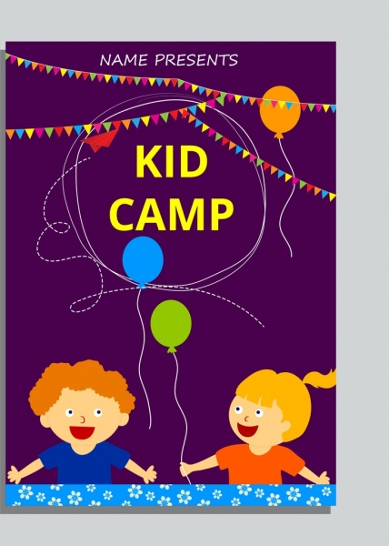 kid camp advertising children icons colorful decoration