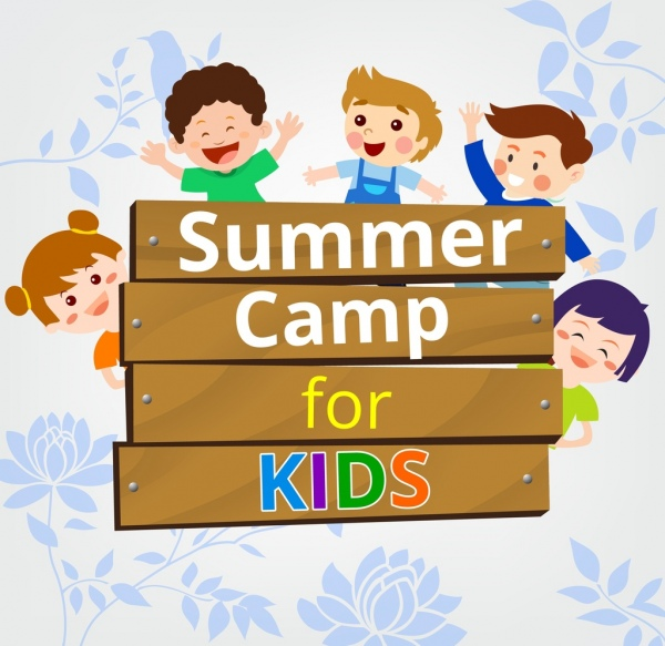 kid camps advertisement cute kids icons colored cartoon