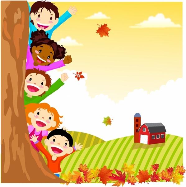 Kids Hiding Behind Autumn Tree