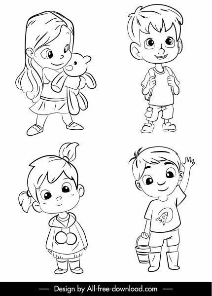 kids icons cute cartoon sketch black white handdrawn
