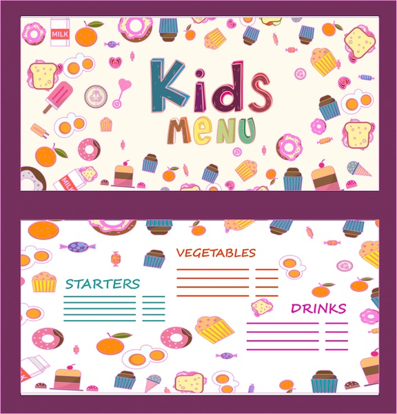 kids menu ornament food icons on white background free vector 684mb