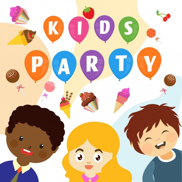 kids party background colorful cartoon design cream icons