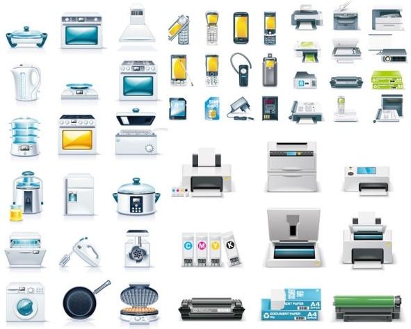 kitchen appliances u0026amp office icon vector