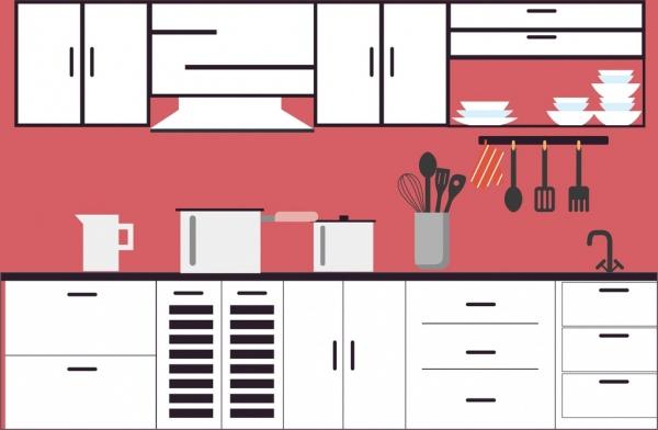 Kitchen Furniture Scheme Various Flat Icons Design
