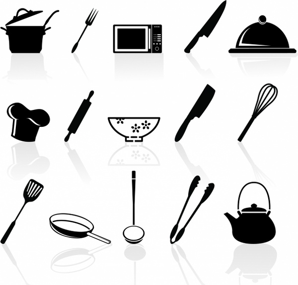kitchen utensils silhouette vector free. Kitchen Utensil Icons Set Utensils Silhouette Vector Free R