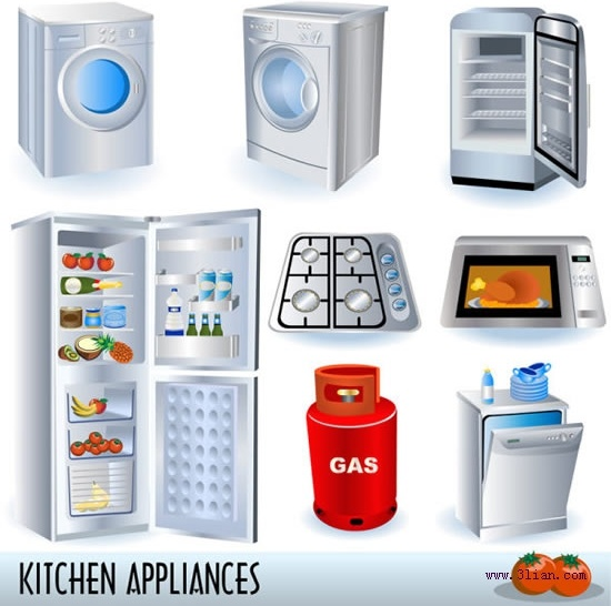 household objects icons shiny modern 3d sketch