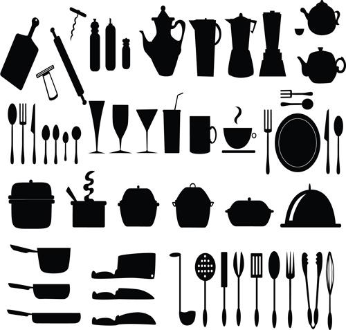 kitchen utensils silhouette vector free. Kitchen Utensils Vector Silhouettes Free 1.42MB Silhouette I