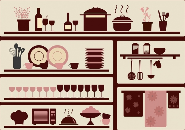 kitchenware objects design elements brown flat design
