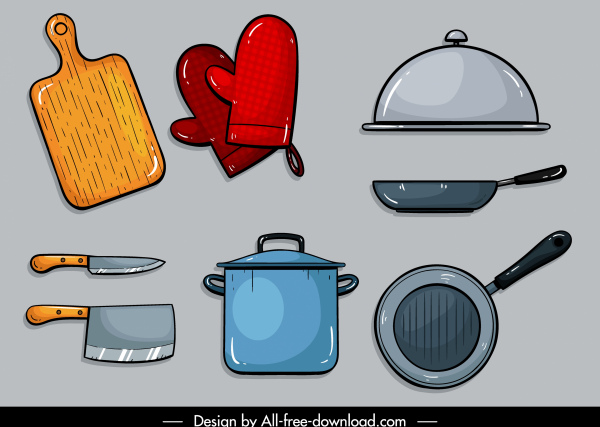 kitchenwares icons colored flat sketch
