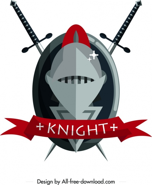 knight logo sword iron armor ribbon icons decor