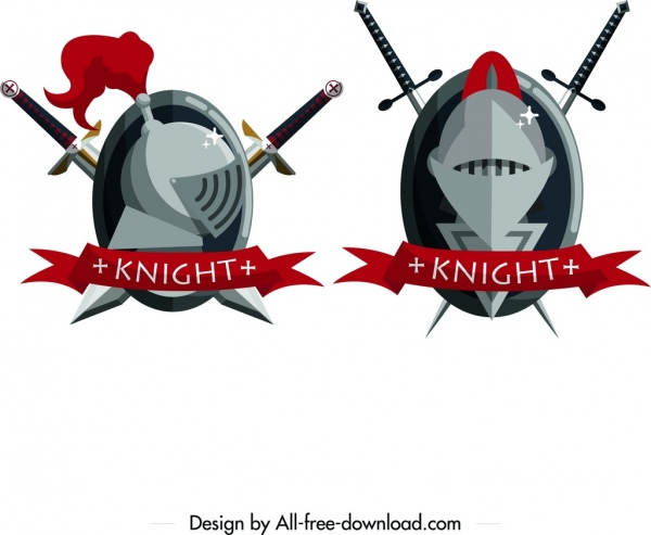 knight logotypes swords iron mask ribbon icons decor