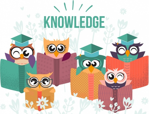 knowledge background cute stylized owl book icons decor