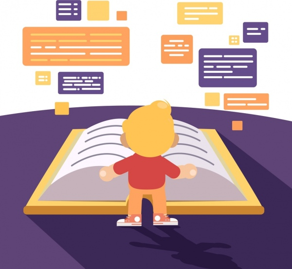 knowledge background kid giant book text box icons