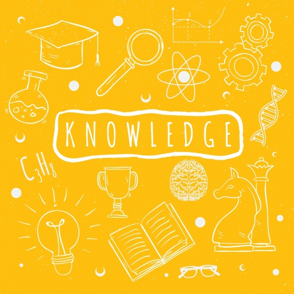 knowledge background yellow design handdrawn education icons