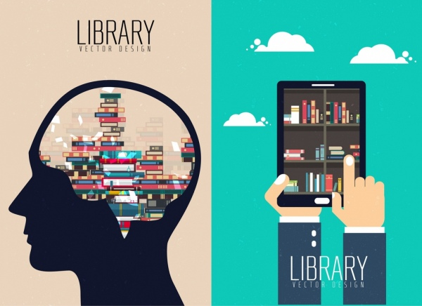 knowledge concept background bookshelf head smartphone icons