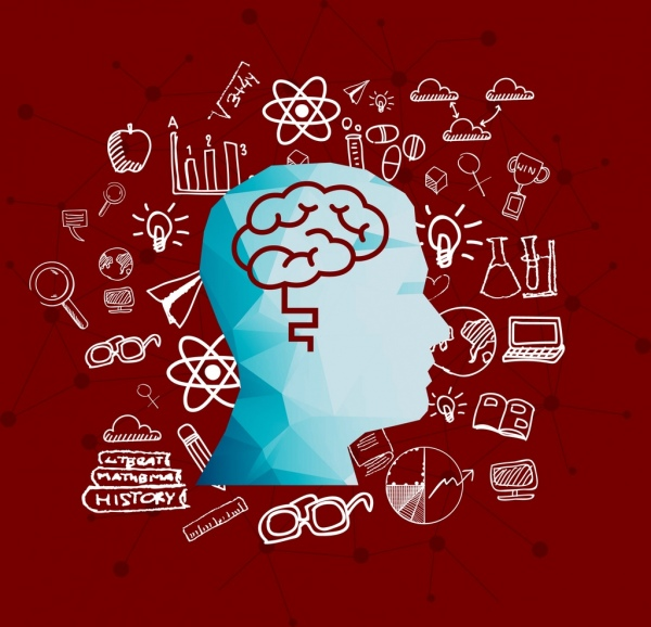 knowledge concept background head brain icons handdrawn sketch
