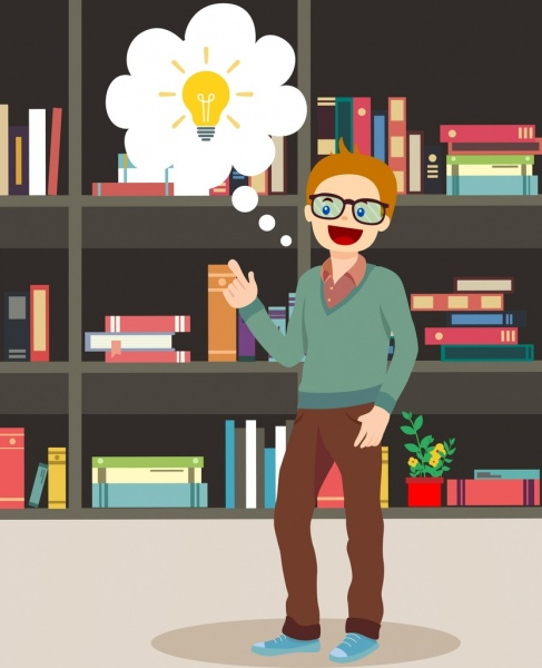 knowledge concept background man lightbulb bookshelf icons