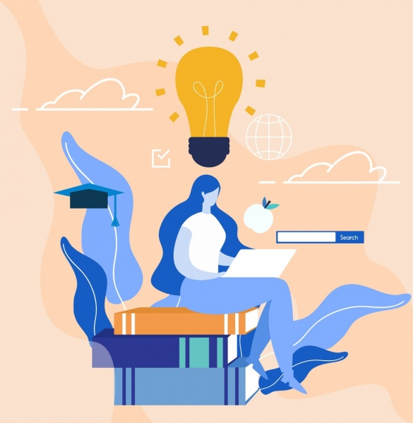 knowledge concept background woman books stack lightbulb icons