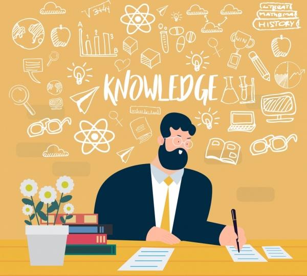 knowledge concept background working man handdrawn design elements