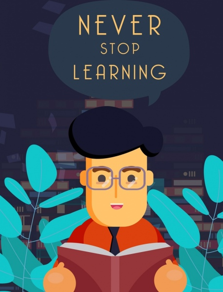knowledge concept banner learning man speech bubble icons