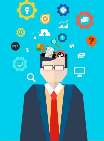 knowledge conceptual background man head idea icons decor