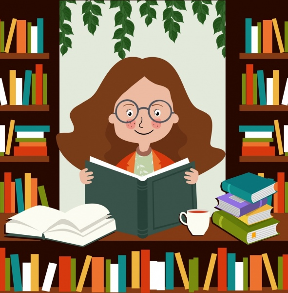knowledge conceptual drawing girl reading book colored cartoon