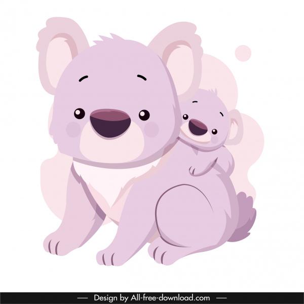 koala family icon lovely cartoon sketch