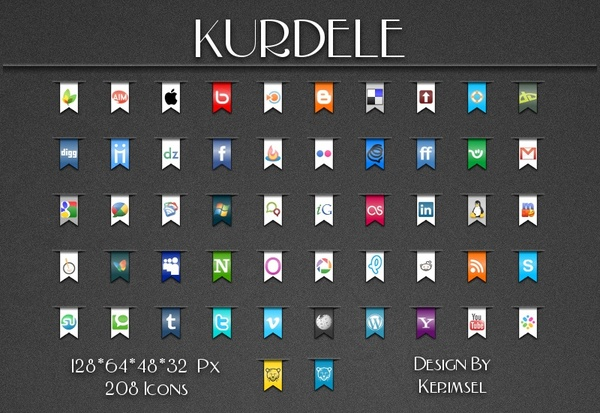 Kurdele social icons icons pack