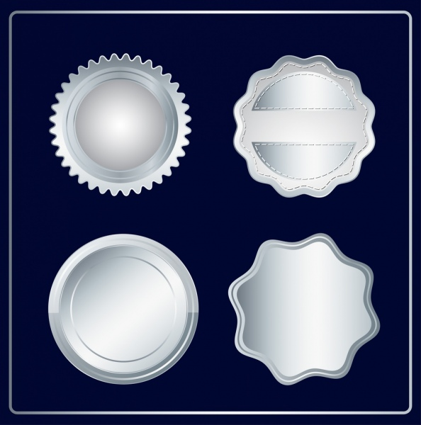 label templates collection various silver shapes