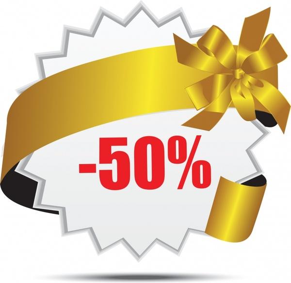 sales banner shiny golden ribbon decor 3d design