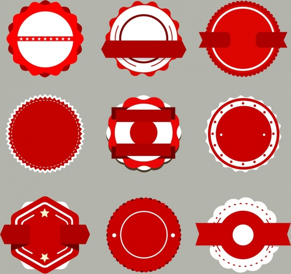 Labels templates collection white red circles design Free vector in ...