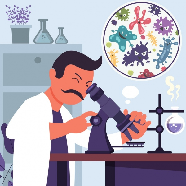 laboratory work background scientist microscope bacteria icons free vector in adobe illustrator ai ai format encapsulated postscript eps eps format format for free download 1 51mb laboratory work background scientist