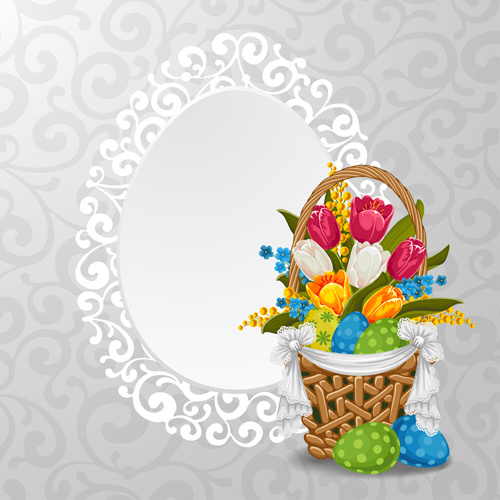 lace frame with baskets easter vector background