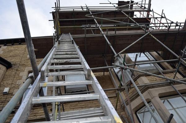 ladder on a scaffold