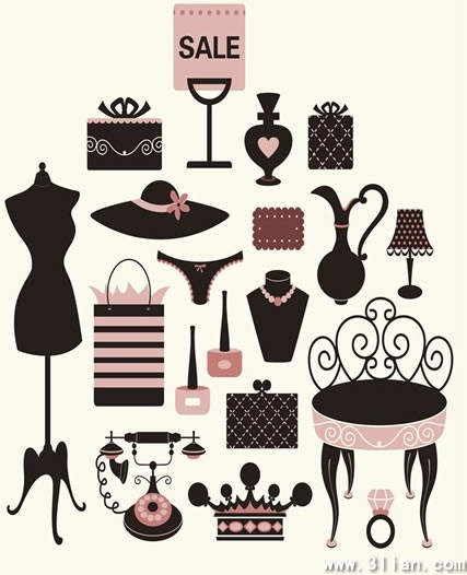 lady accessories design elements products objects icons