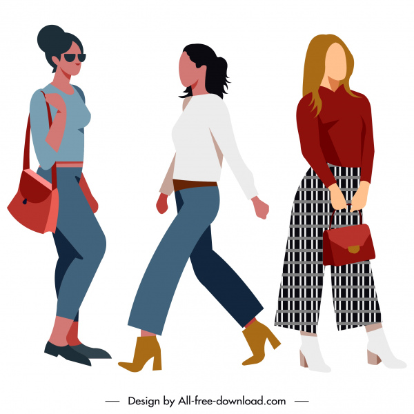 lady fashion templates modern simple design cartoon characters
