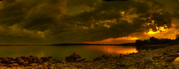lake sunset panorama